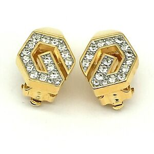 Bijoux Givenchy Paris-New York 1979 Pave Set Rhinestone Initial G Clip Earrings