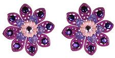 Tarina Tarantino Layered Lucite Flower Earrings Purple *Made in California*