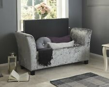 Velvet Window Seat Sofa Bench Storage Stool Chaise Lounge Chair Ottoman Grey