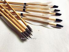 New 12PCS Hunting Wooden Arrow Turkey Feather Target Practice Arrow Field Tips