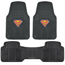 Original Superman Rubber Floor Mats for Car SUV Truck 3 PC Trimmable Heavy Duty
