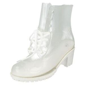 "Spot On F50194 White Transparent 2.5"" Block Heeled Fashionable Wellies FESTIVALS"