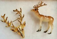 Buck/Reindeer Brooch & vintage miniture reindeer toy made in Hong Kong