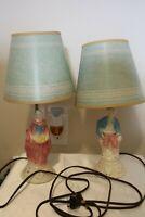 Pair of Vintage Boudoir Lamps Colonial Man & Woman Original Shades 1950s