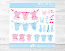 Pink & Blue Baby Clothesline Clipart