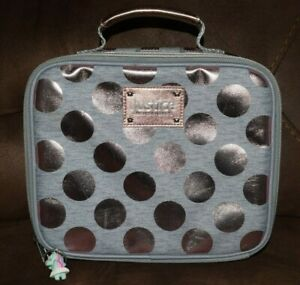 Justice Lunch Case Rose Gold Gray Polka Dot