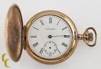 Gold Filled Waltham Antique Full Hunter Pocket Watch Gr: Seaside 6S 7 Jewel