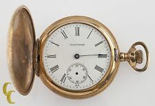 Gold Filled Waltham Antique Full Hunter Pocket Watch Gr: Seaside 6S 7 Jewel