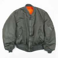 Vintage MA-1 Made in USA Green Flying Bomber Jacket Mens Size XL