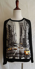 Elie Tahari for Design Nation XS Downtown City Street Taxi Cars Blouse Top Shirt