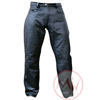 Men's Genuine Leather Black Perforated Leather Jeans Style Pant Soft Leather NEW