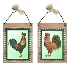 💗 Green & Black Plaid Rooster Pictures Chicken Kitchen Hen Wall Hanging Plaques