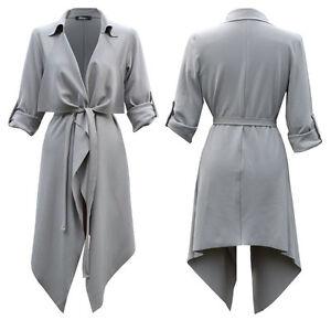 Grey Womens Ladies Turn Up Sleeve Belted Waterfall Duster Blazer Coat Jacket