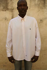 Polo Ralph Lauren Men Casual Shirt Striped Pink White Cotton MADE IN USA XL
