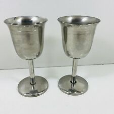 PAIR OF STAINLESS STEEL DRINKING GOBLETS WINE