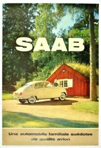 Vintage French Saab Motor Car Advertisement Poster Print A3/A4