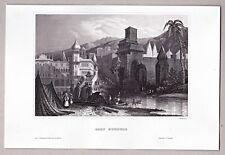 Haridwar India - Tempelanlage - Original Stahlstich 1850