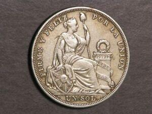 PERU 1923 1 Sol Silver Crown VF