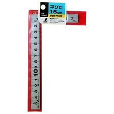 Shinwa 10007 Mini Carpenters Square Flat 15cm Stainless Steel Rule