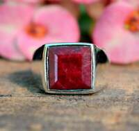 Natural Square Shape Red Ruby Gemstone 925 Sterling Silver Artisan Men's Ring