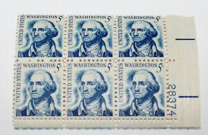 6 Block of George Washington 5 Cent Stamp Blue