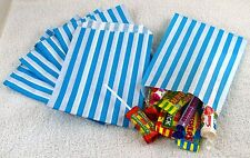 "100 azzurro e bianco Candy Stripe Carta Sacchetti Caramelle Nozze 5 ""X 7"" Pick 'n' Mix"