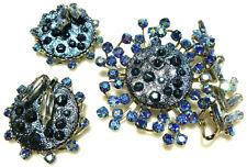 JUDY LEE VINTAGE BLUE RHINESTONE FLOWER FLORAL SPIN EARRINGS BROOCH PIN SET LOT