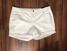 LANE BRYANT White Stretch Denim Roll Cuff 5 Pocket Jean Shorts size 26W 3X 4X