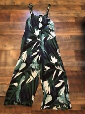 Womens Olivaceous Boutique Palm Green Tropical Jumpsuit Size Small