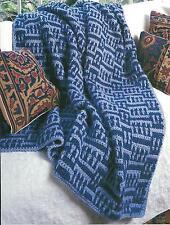 *Blue Basket Weave Afghan crochet PATTERN INSTRUCTIONS