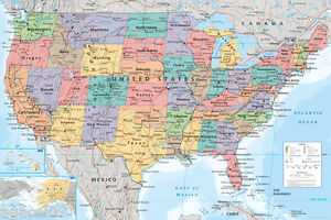 Map of USA United States of America Maxi size 91.5x61cm Poster Education Aid