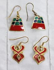 2 PC Earring Set Dangle Fire Hearts Pyramid-Tower Red Green Gold Enameled