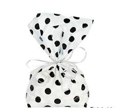 12 Black Polka Dot Cellophane Birthday Party Supplies All Occasion Treat Bags