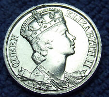 NOS 1953 Great Britain Queen Elizabeth II Coronation Medal: Silver Tone, 25mm