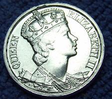 NOS 1953 Great Britain Queen Elizabeth II Coronation Medal: Silver Tone, 25mm