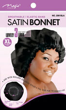 "Magic Collection Satin Bonnet Breathable Elastic Band XL21""  #2061BLA**"