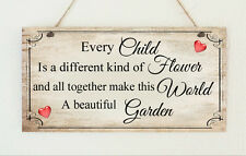Beautiful Shabby Love Children Flowers Garden Distressed Sign Plaque Chic Gift
