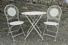 Cream with gold aging effect bistro/patio set - table & 2 chairs - Free delivery