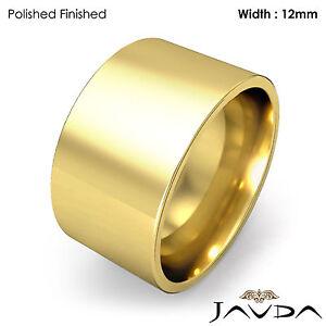 Men Wedding Band Comfort Flat Pipe Cut Ring 12mm 18k Yellow Gold 16.9g 8-8.75