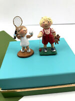 2 Vintage WEE WOODEN Miniatures Girl Tennis Boy Yo-Yo Hand Painted