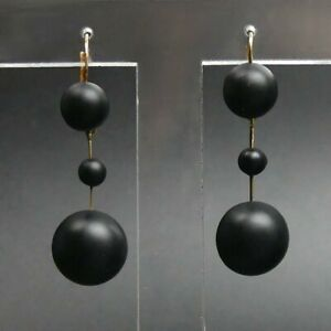 VICTORIAN ANTIQUE PAIR OF 18 CT GOLD (TESTED) OBSIDIAN DROP EARRINGS - 6.5 GRAMS