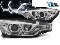 Coppia di Fari Lenticolari Cromati LED Luci Diurne DRL Angel Eyes BMW F30 F31 20
