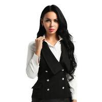 Damen Weste Anzugweste in schwarz ärmellose Klassisch Business Jacke Westen