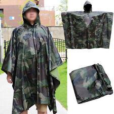 Waterproof US Army Hooded Ripstop Rain Poncho Military Hunting Camping Hiking
