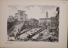 ANTIQUE PIRANESI PRINT 100 YEARS OLD from VIEWS of ROME VIEW of THE CAPITAL