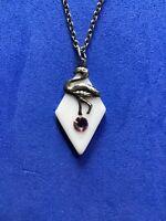 "Diamond Shape Flamingo Bird Pink Crystal 19"" Silver Tone Chain Necklace Florida"