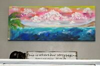 original acrylic painting abstract style.canvas  Impressionist style seascape
