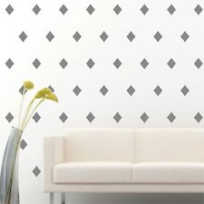 "96 of 4"" Silver Diamond Shape Removable Peel & Stick Wall Vinyl Decal Sticker"