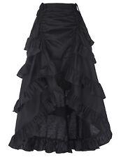 Gothic Corset LONG Skirt Victorian Steampunk Ruffle Vintage MAXI Skirt RED/BLACK