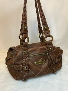 Isabella Fiore Brown Leather Handbag Purse Slouch Hobo